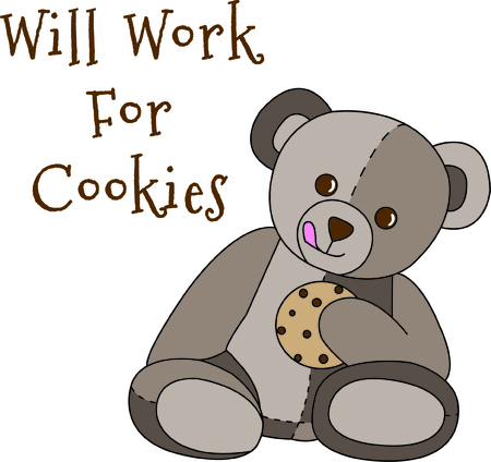 buzzing: Share a sweet treat with this cute little bear.  If he wasnt the sweetest thing already, a cookie makes it just perfect.