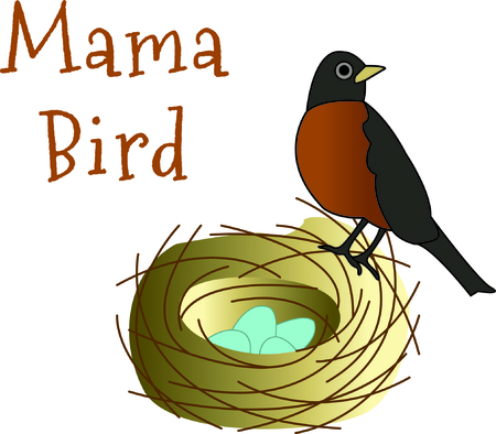 This little robin is such a good mommy.  She has made a nest and is faithfully watching her egg until it finally hatches.  Perfect embellishment for a shirt with a very special message!