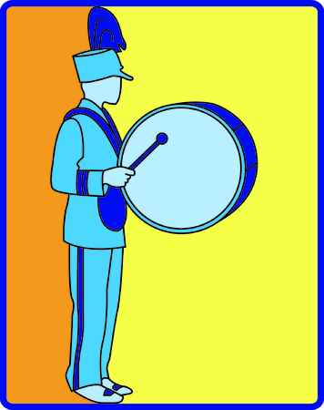 Show some school spirit with this drummer marching in the parade.  Very nicely designed embroidery with a smooth fill stitch background.