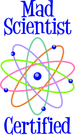 This atom model is a perfect image to add to a design for a child.