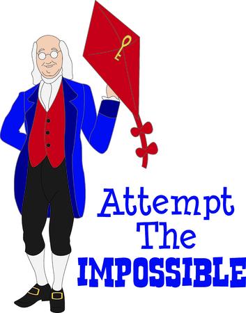 Dit ontwerp van Benjamin Franklin is een perfect beeld om een ??ontwerp toe te voegen voor een wetenschap klas. Stockfoto - 43679222
