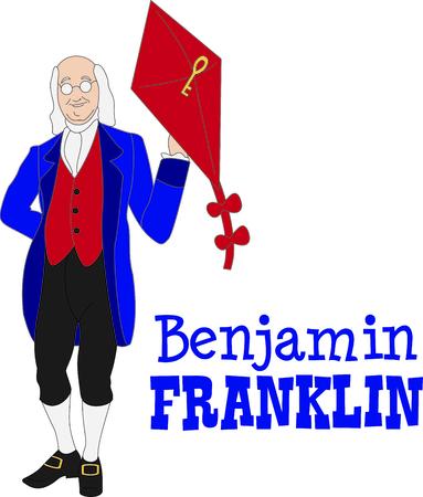 Dit ontwerp van Benjamin Franklin is een perfect beeld om een ontwerp toe te voegen voor een wetenschap klas.