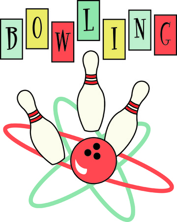 here's: Heres a retro bowling design that is sure to be a hit!  The use of classic colors and lines will turn any garment into an instant favorite - and a lucky bowling shirt!