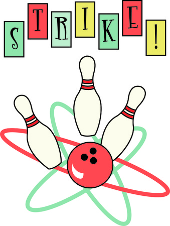 atomic symbol: Heres a retro bowling design that is sure to be a hit!  The use of classic colors and lines will turn any garment into an instant favorite - and a lucky bowling shirt!