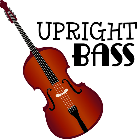 upright: This design is perfect for a gift for a bass player.  They will love it! Illustration