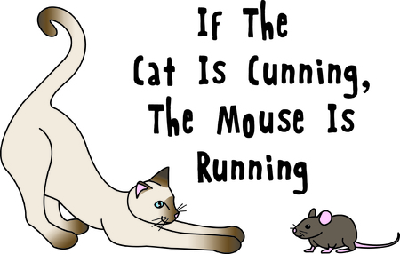 pounce: These unlikely friends play a game of cat and mouse.   A fun scene in stitches that you can use so many places that might need just a touch of fun!
