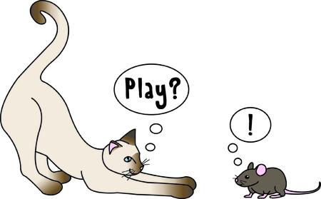 Diese unwahrscheinlichen Freunden spielen ein Spiel von Katz und Maus. Ein Spaß-Szene in Maschen, dass man so viele Orte, die nur eine Note des Spaßes benötigen könnten zu verwenden! Standard-Bild - 43679780