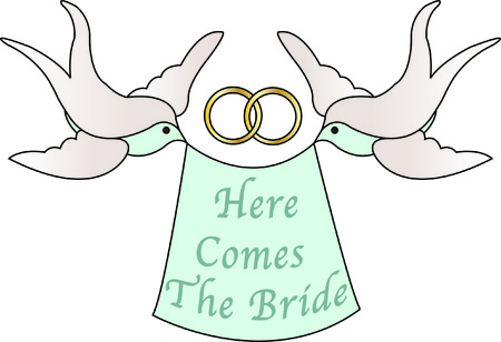 here's: Heres a modern touch to traditional wedding doves.  The addition of non-traditional color makes this design so elegant as a part of your wedding decorations.  Add text with our instant lettering.
