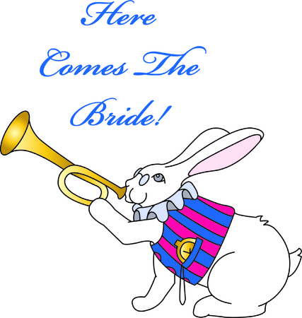 bugle: The fictional rabbit with his stopwatch and bugle comes to life in stitches.  He adds a totally unexpected touch to wedding and shower decorations. Illustration