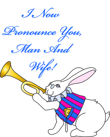 fictional: The fictional rabbit with his stopwatch and bugle comes to life in stitches.  He adds a totally unexpected touch to wedding and shower decorations. Illustration