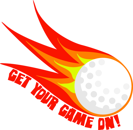 ignited: Golf is a great past time sport to enjoy playing with a group or on your own. This is the perfect design to add to a golf towel. Illustration