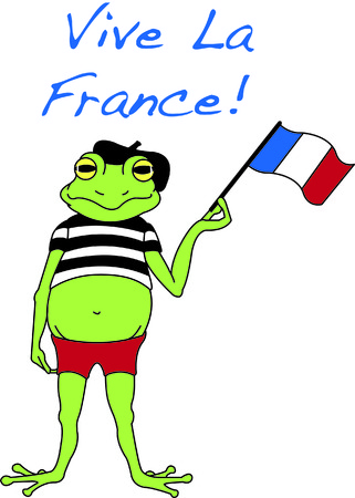 bonjour: Bonjour!  Greetings from our favorite French froggie.  Add some special class to your stitching with this little frog. Illustration