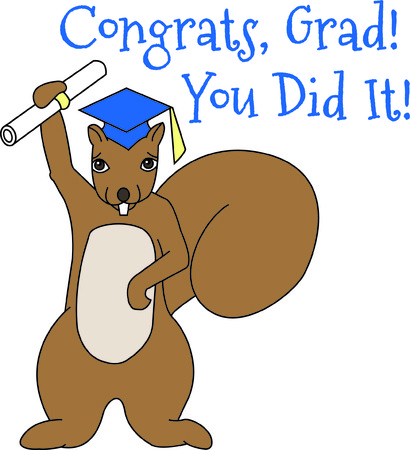 marmot: Recognize your favorite graduate in a very unusual way..a squirrel!  Hes got his diploma and ready to change the world.  Great for all grads from kindergarten to college! Illustration