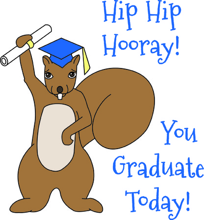 Recognize your favorite graduate in a very unusual way..a squirrel!  Hes got his diploma and ready to change the world.  Great for all grads from kindergarten to college! Illustration