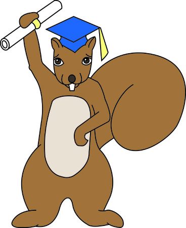 Recognize your favorite graduate in a very unusual way..a squirrel!  Hes got his diploma and ready to change the world.  Great for all grads from kindergarten to college! Ilustração