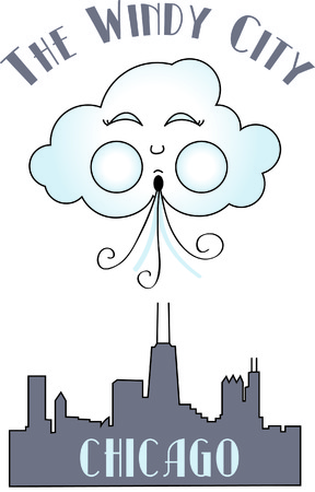 windy city: Chicago, the windy city displayed in stitches.  This graphic is a fantastic travel embellishment. Vectores