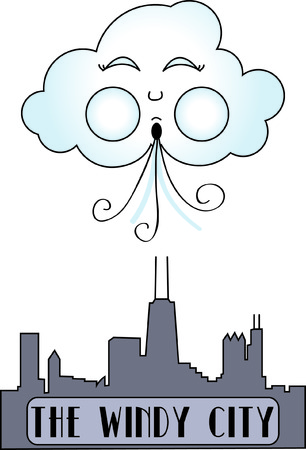 windy city: Chicago, the windy city displayed in stitches.  This graphic is a fantastic travel embellishment. Illustration