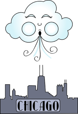 Chicago, the windy city displayed in stitches.  This graphic is a fantastic travel embellishment. Illustration