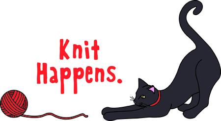 Kitties kan niet weerstaan ??een bal van garen - zo'n leuke tijd! Deze pot is een perfecte keuze voor het maken van die speciale gift voor uw favoriete katachtige minnaar. Stockfoto - 43680051
