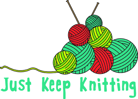 A stack of yarn is the perfect decoration for a knitting bag.  Use this design of yarn and needles to create a knitting bag for your favorite knitter.
