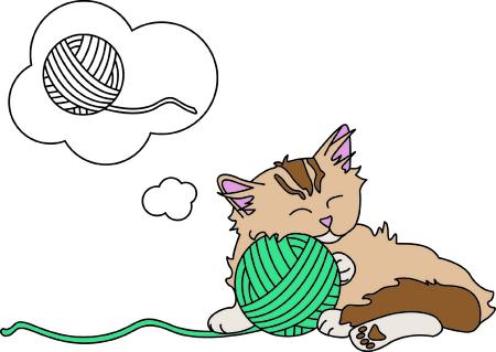 Kitties kan niet weerstaan een bal van garen - zo'n leuke tijd! Deze pot is een perfecte keuze voor het maken van die speciale gift voor uw favoriete katachtige minnaar. Stock Illustratie