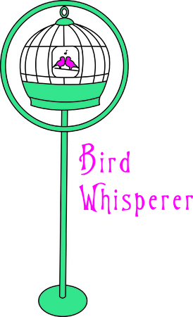 Pretty birdcage holds two pretty little birds.  Wouldn't this be a lovely way to embellish a special hankie