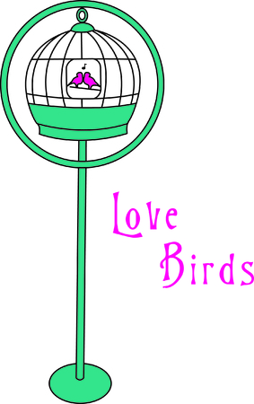 Pretty birdcage holds two pretty little birds.  Wouldnt this be a lovely way to embellish a special hankie Ilustração