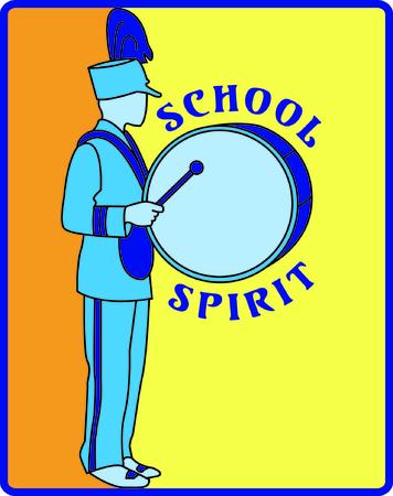 このドラマーのパレードで行進するいるといくつかの学校の精神を示します。 滑らかな塗りステッチ背景刺繍を非常にうまく設計されています。  イラスト・ベクター素材