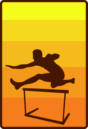 hurdles: Show some school spirit with this athlete jumping hurdles.  Very nicely designed embroidery with a smooth fill stitch background. Illustration