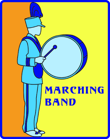 marching band: Show some school spirit with this drummer marching in the parade.  Very nicely designed embroidery with a smooth fill stitch background.