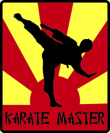 kwon: Karate!  This silhouette of a martial artist is just perfect to decorate karate gear like bags or hat sides. Illustration