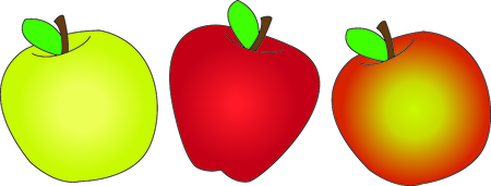 gala: All kinds of apples all lined up to create the perfect edge.  Subtle color variances create the perfect fruit.