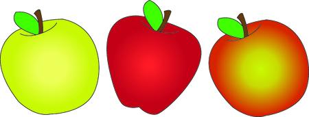 Alle Arten von Äpfeln alle aufgereiht, um die perfekte Kanten erstellen. Subtile Farbabweichungen schaffen die perfekte Frucht. Standard-Bild - 43680183