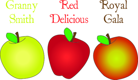 All kinds of apples all lined up to create the perfect edge.  Subtle color variances create the perfect fruit.