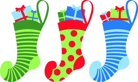 이 귀여운 스타킹 디자인에 휴가 크리스마스 환호를 보냅니다. 일러스트