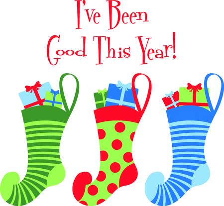 Senden Sie Feiertagsweihnachtsbeifall in Ihrem Design mit diesen niedlichen Strümpfe. Standard-Bild - 43680225