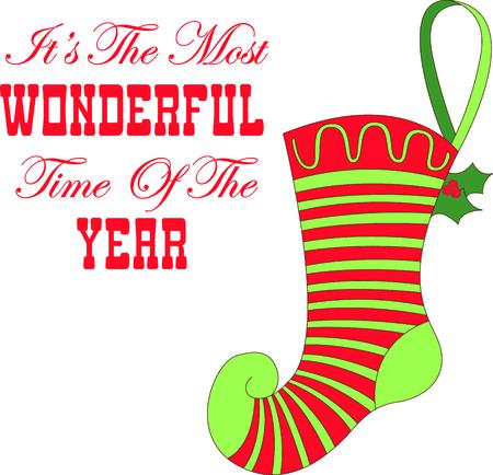 이 귀여운 스타킹 디자인에 휴가 크리스마스 환호를 보냅니다. 스톡 콘텐츠 - 43680231