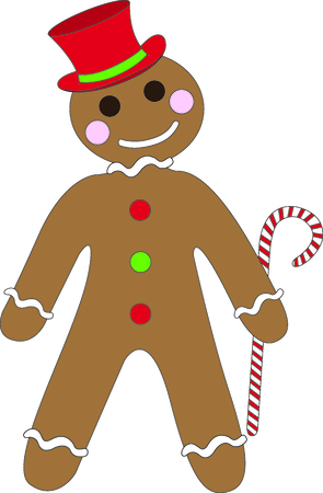 gingerbread cake: Send holiday Christmas cheers in your design with this cute gingerbread man. Illustration