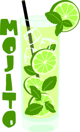mixed fruit: Enjoy a mojito to relax in the evening.  This image is perfect for your design.