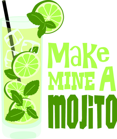 mixed drink: Enjoy a mojito to relax in the evening.  This image is perfect for your design.