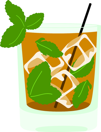mixed drink: Enjoy a mint julep to relax in the evening.  This image is perfect for your design.
