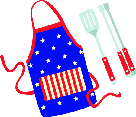 These grill accessories design is perfect for celebrating Independence day.  Add this image to your next design. 向量圖像