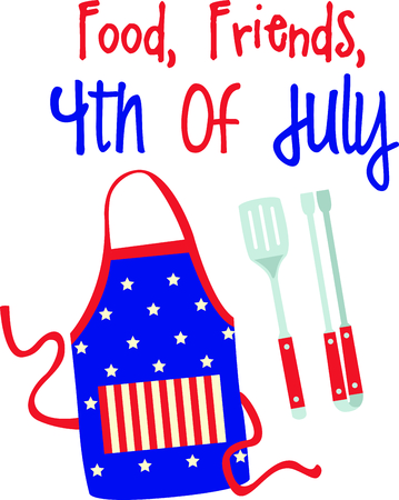 These grill accessories design is perfect for celebrating Independence day.  Add this image to your next design. 版權商用圖片 - 43680987