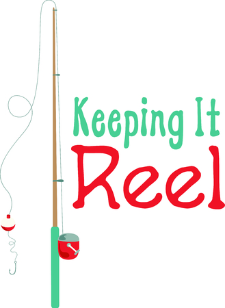 angling rod: Vacationing at the bay is lots of fun.  Take this fishing design to remember it always. Illustration