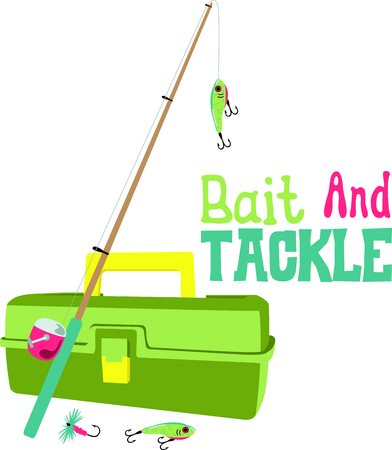 bait box: Vacationing at the bay is lots of fun.  Take this fishing design to remember it always. Illustration