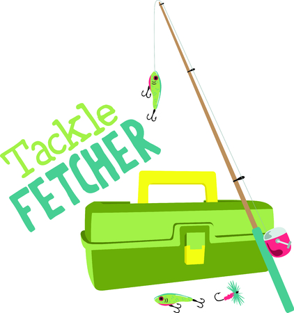 tackle box: Vacationing at the bay is lots of fun.  Take this fishing design to remember it always. Illustration