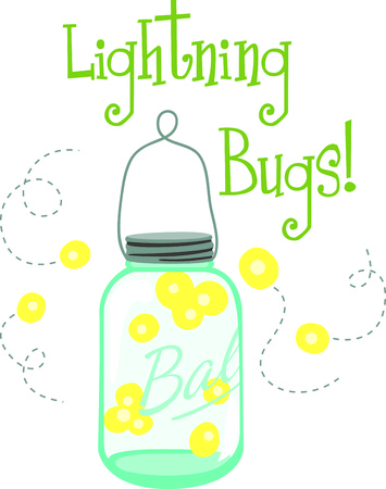 fireflies: Enjoy the country with a jar of lightning bugs.  Perfect on a shirt for the next adventure!