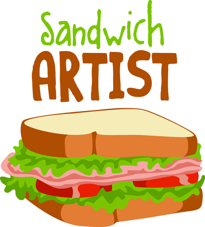The perfect meal on the go for lunch is a sandwich with all the fixings.  A fun design from Great Notions! Ilustracja