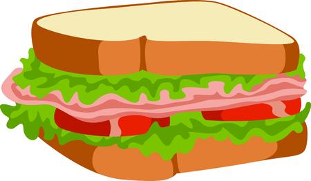 昼食のため外出先で完璧な食事は、すべての具のサンドイッチです。 楽しいは、偉大な概念からデザイン! 写真素材 - 43682025