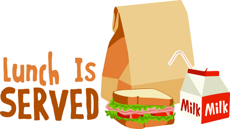 The perfect meal on the go for lunch is a sandwich with all the fixings. Ilustracja